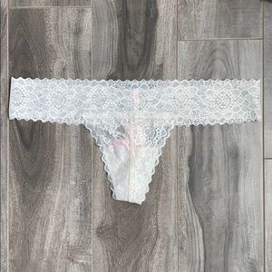 Women's PINK white lace extra low rise thong